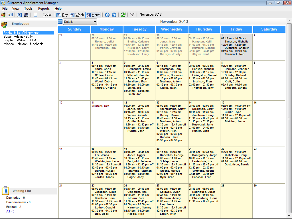 Monthly View In Appointment Scheduling Software
