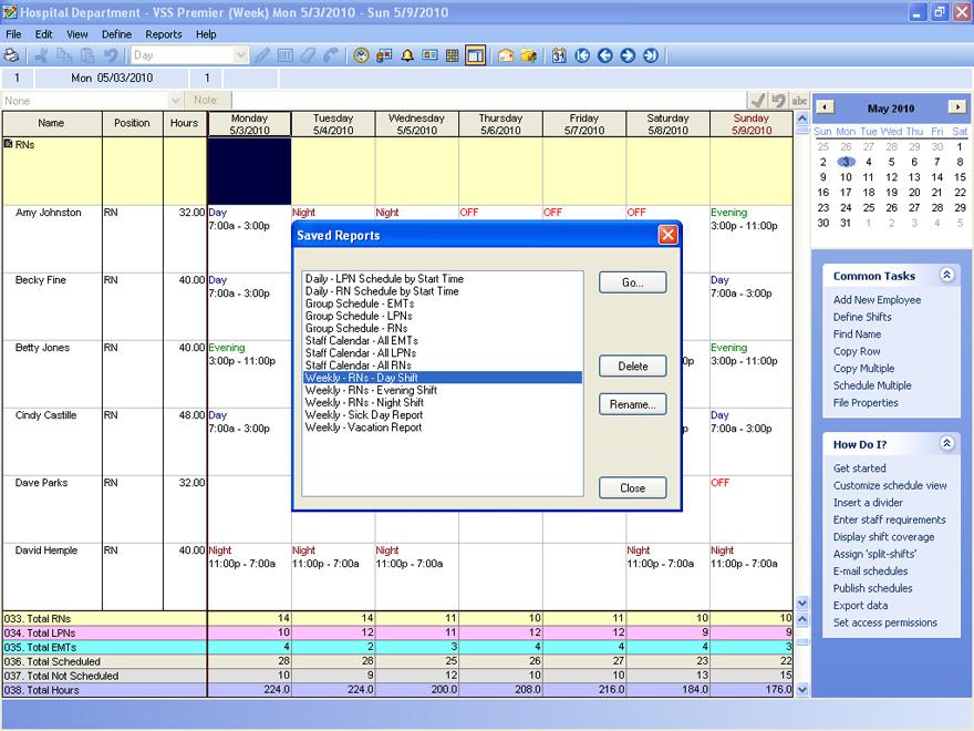 staff schedules