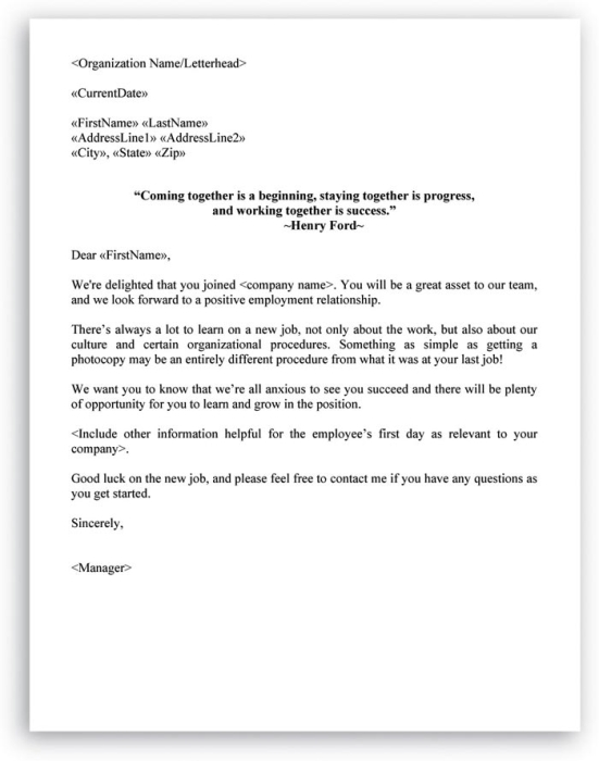 Hire Checklist And Welcome Letter Included In Hr Letters