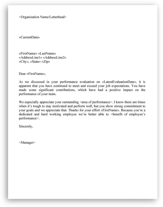 employee evaluation letter