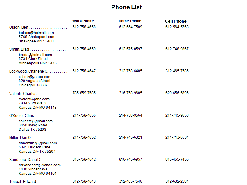 employee contact list template