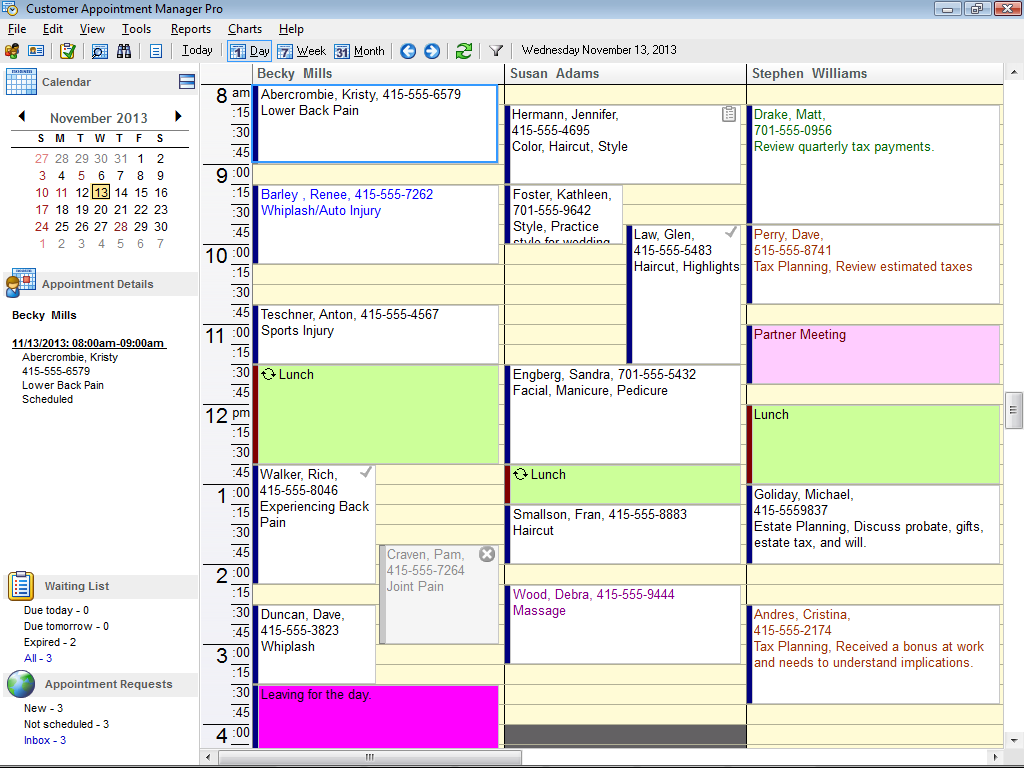 daily view in appointment scheduling software daily view