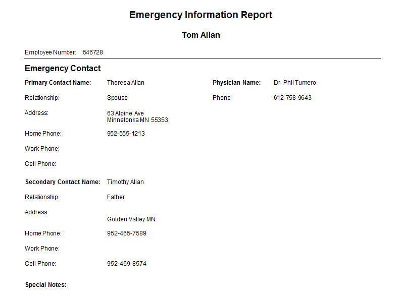 Emergency Contact Report