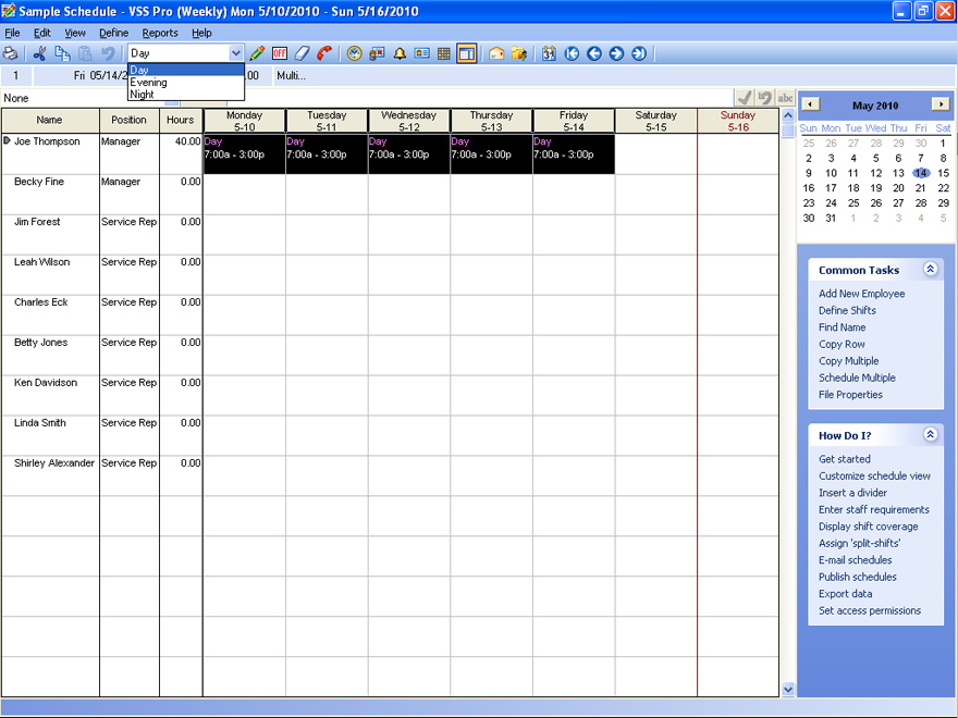 Views And Screenshots Of Employee Scheduling Software