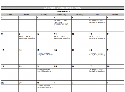 Customer Monthly Appointment Calendar